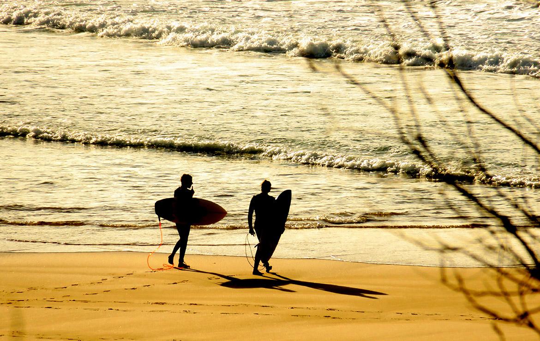 dos amigos surferos entran al agua al atardecer